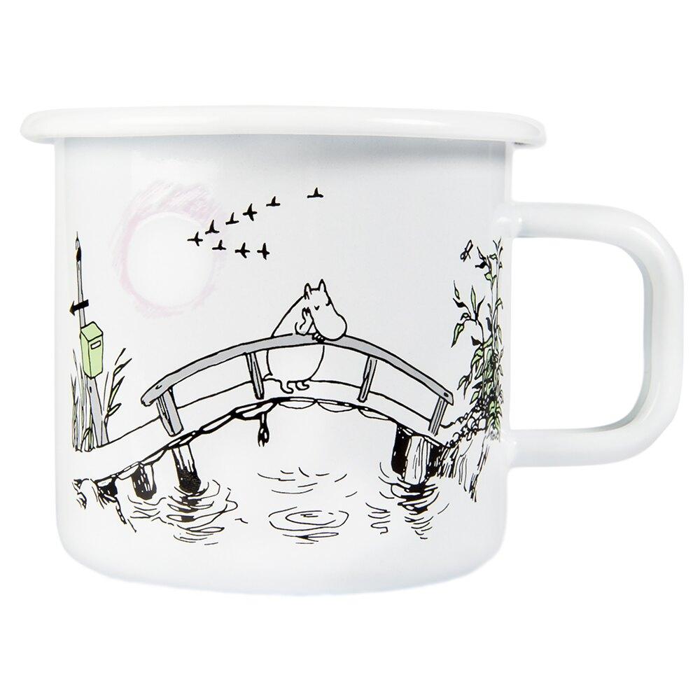 【芬蘭Muurla】 嚕嚕米馬克杯 琺瑯杯 水杯 想念你 白色 370ml -618年中慶