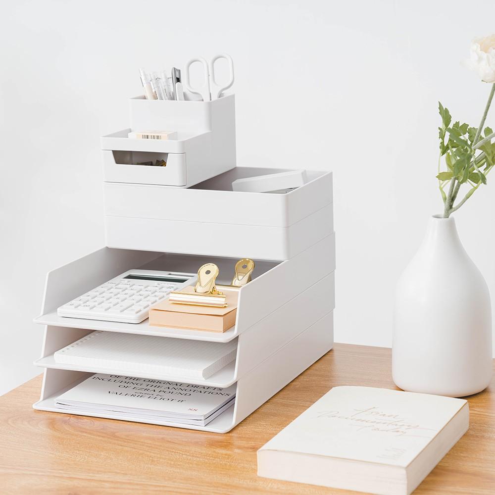 可堆疊文件文具收納盒 文具收納 辦公室 收納籃 桌上收納 桌面收納 文件盒 筆筒 收納 事務用品 學生【L006】