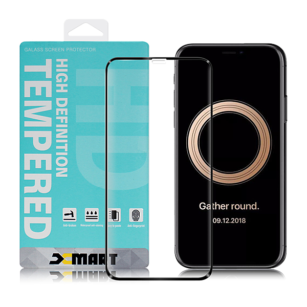 Xmart for iPhone11 Pro Max / iPhone Xs Max 用高透光2.5D滿版玻璃貼- 黑 2入