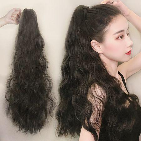 假髮女馬尾款長髮玉米燙自然網紅辮子卷髮大波浪綁帶式高假馬尾片