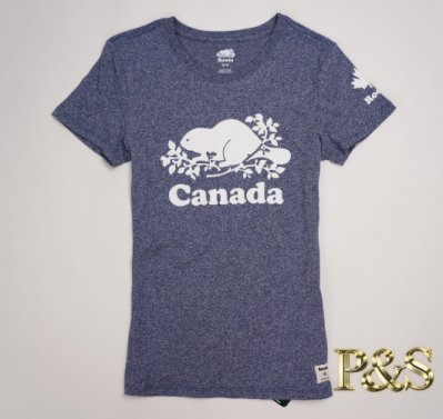 [P S] 三號五樓 全新正品 Roots 基本款大海狸 CANADA 袖子楓葉 女款 短T 雜藍色