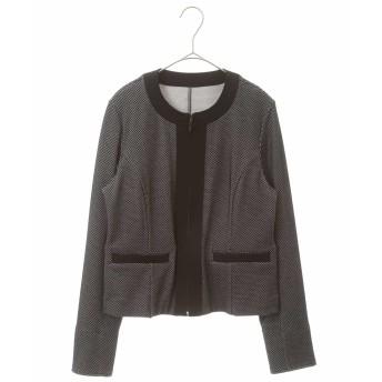 HIROKO BIS 【洗える】バーズアイジャカードジャケット ノーカラージャケット,ブラック