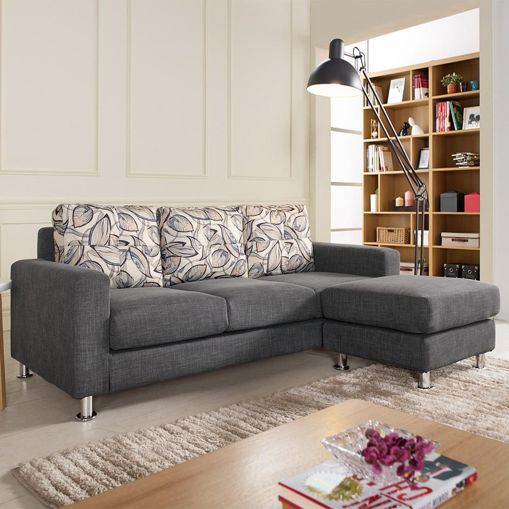 Boden-羅森L型灰色布沙發椅組(三人座+腳椅)