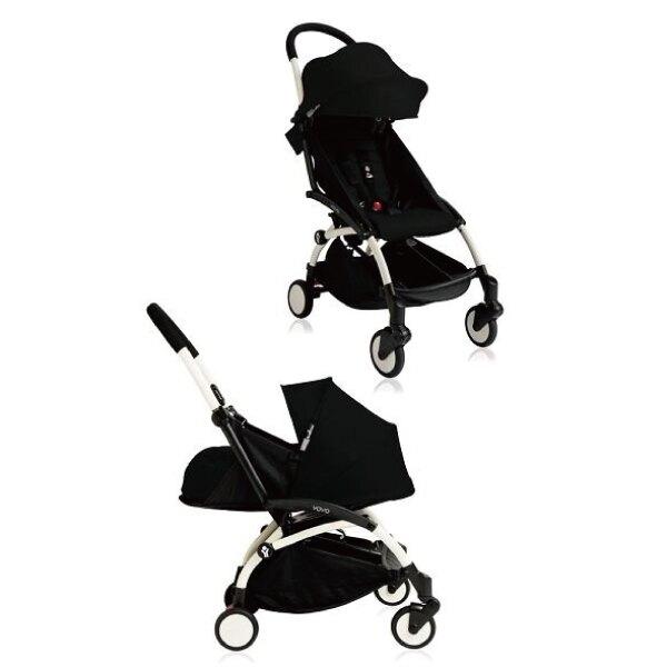 【現貨-第3代】法國 BABYZEN YOYO plus/YOYO+ 嬰兒手推車(6m+&新生兒套件) (白骨架) 黑色