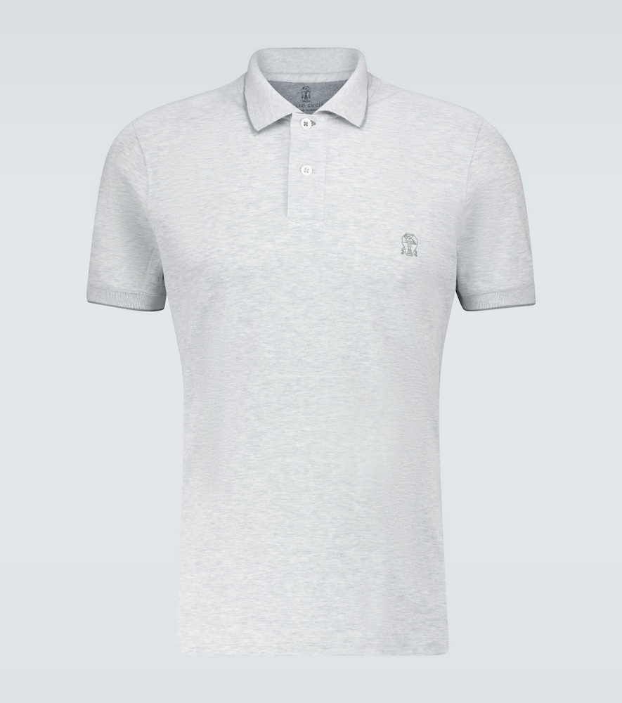 Slim-fit short-sleeved polo shirt