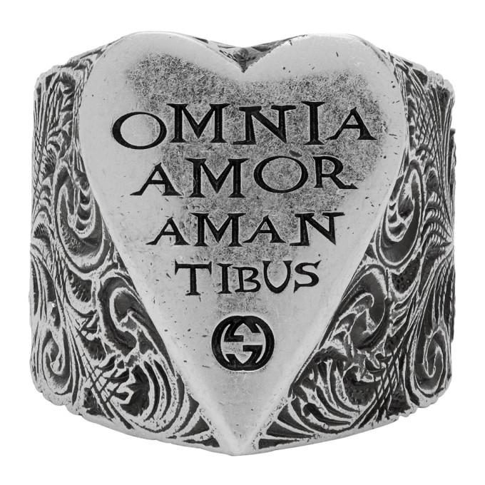 Gucci 银色 Engraved Heart 戒指