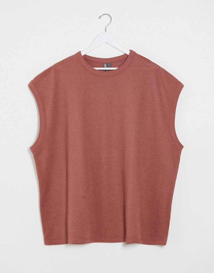 ASOS DESIGN extreme oversized sleeveless heavyweight t-shirt with bound seams in textured fabric-Bro