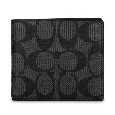 COACH 經典滿版LOGO PVC皮革八卡短夾-黑灰