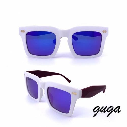 GUGA 流行季節款海波大方框墨鏡 567 白框酒紅邊款