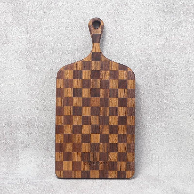 KD科定文創小品 | 木餐盤(小)_長型格子款深棕色