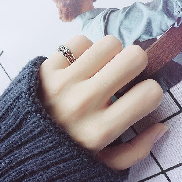 愛洛奇 s925銀戒指女復古泰銀麻花開口指環民族風時尚尾戒子飾品