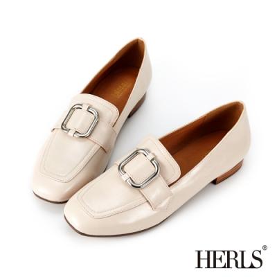 HERLS樂福鞋-兩穿金屬方釦光澤感小方頭樂福鞋-米色