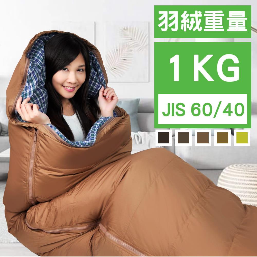 橋登 JIS60% 格紋羽絨睡袋【內裡可拆卸】