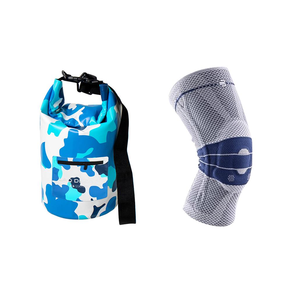 全新第八代 Bauerfeind 博爾汎 護具基本款- 灰藍+ 10L白藍迷彩防水圓桶包