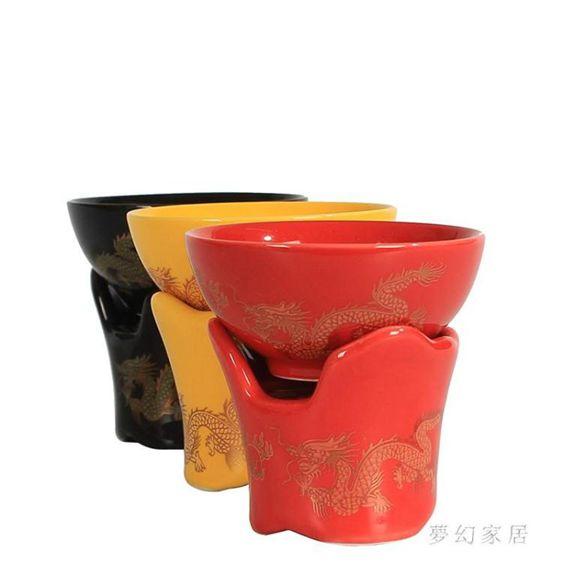 茶漏茶濾紅釉泡茶漏斗創意陶瓷茶葉茶隔過濾器JH562