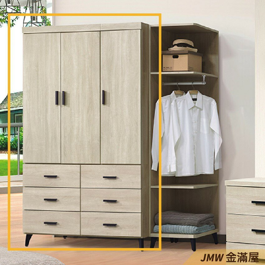 [免運]120cm衣櫃 尺衣櫥【金滿屋】木心板 推門滑門開門 衣服收納 免組裝-E135-4