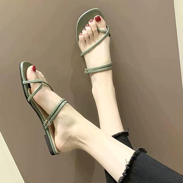 鞋子女夏2020新款韓版仙女風百搭學生平底一字帶套趾粗跟羅馬涼鞋 一木良品