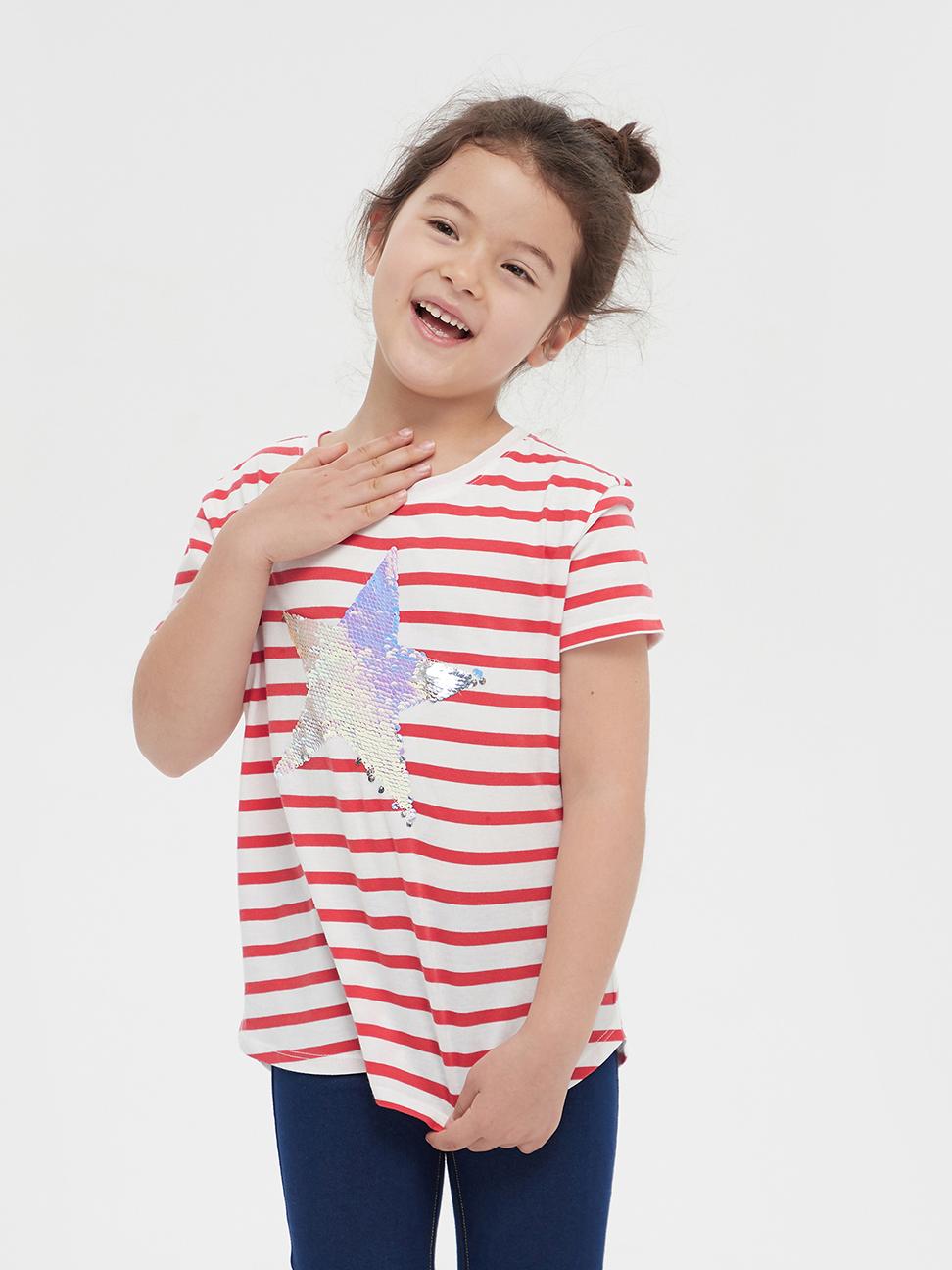 女童 可撥動亮片圓領短袖T恤