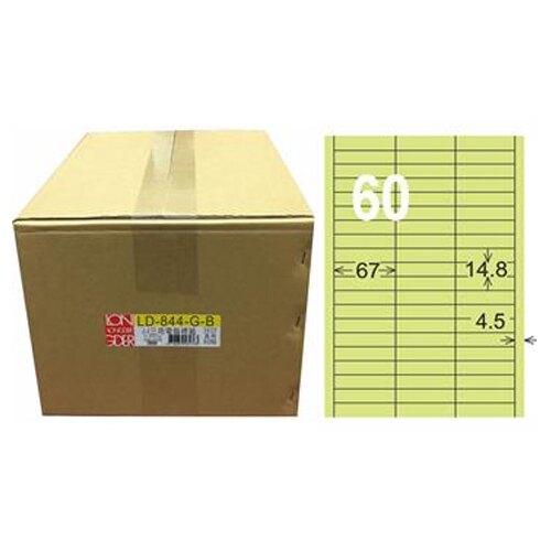 【龍德】A4三用電腦標籤 14.8x67mm 淺綠色1000入 / 箱 LD-844-G-B