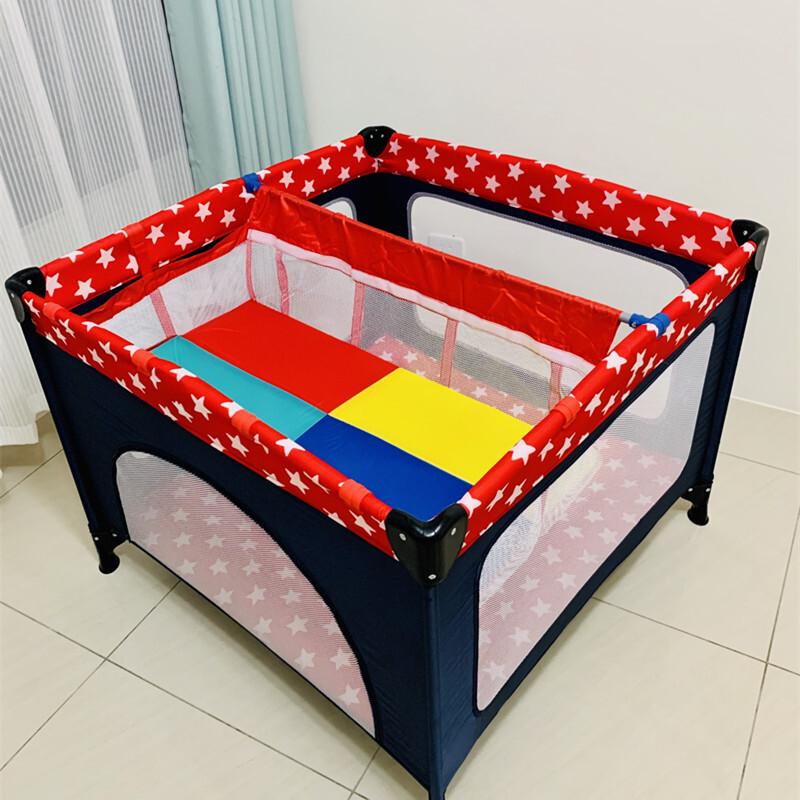 遊戲床 嬰兒床 摺疊床 護欄 圍欄 附床墊 加大正方形 學步圍欄 含二層床