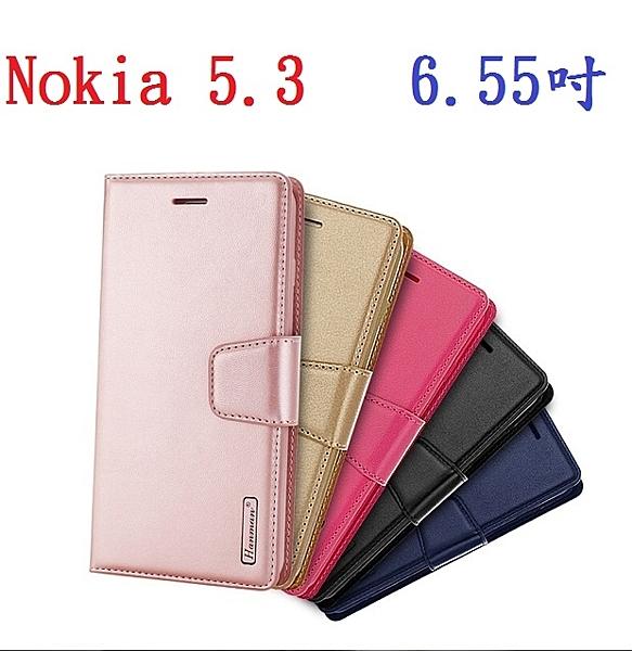【Hanman 仿羊皮】Nokia 5.3 6.55吋 斜立 支架 皮套 翻頁式