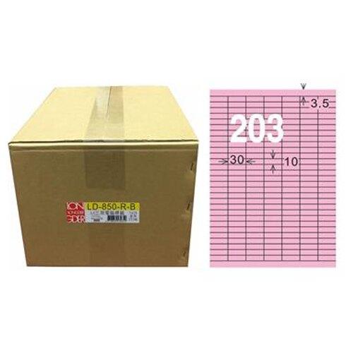 【龍德】A4三用電腦標籤 10x30mm 粉紅色1000入 / 箱 LD-850-R-B