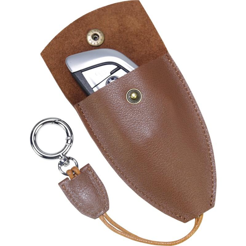 鑰匙包男 復古頭層皮質鑰匙包男女抽拉式鎖匙包汽車皮質鑰匙套殼小巧
