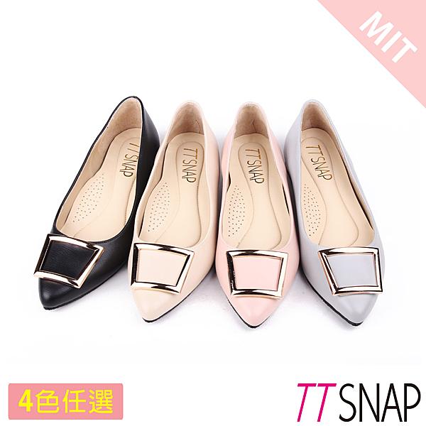 尖頭鞋-TTSNAP MIT時尚女伶方釦真皮金屬低跟鞋 黑/米/粉/藍