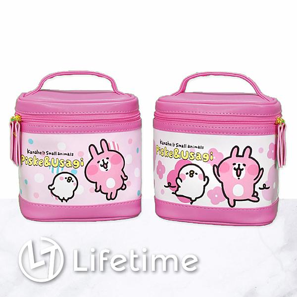 ﹝卡娜赫拉手提圓桶型化妝包﹞正版 皮革收納包 拉鍊 水筒包 兔兔 P助〖LifeTime一生流行館〗