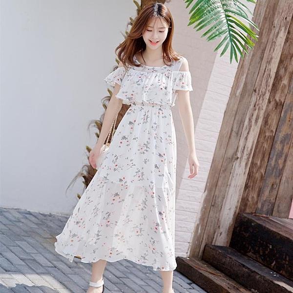 雪紡洋裝夏天顯瘦長裙波西米亞中長款裙子超仙度假沙灘裙女 伊衫風尚
