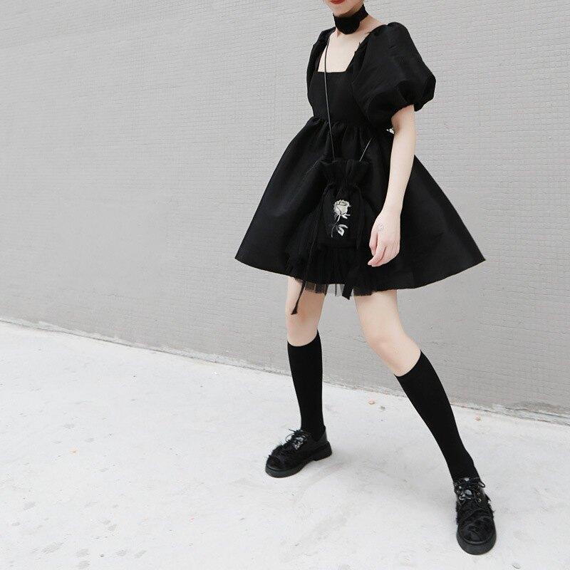 OW貓頭鷹女人 綁帶 露背性感 泡泡袖 高腰洋  暗黑風 娃娃洋 澎袖洋 畢業季 小禮服