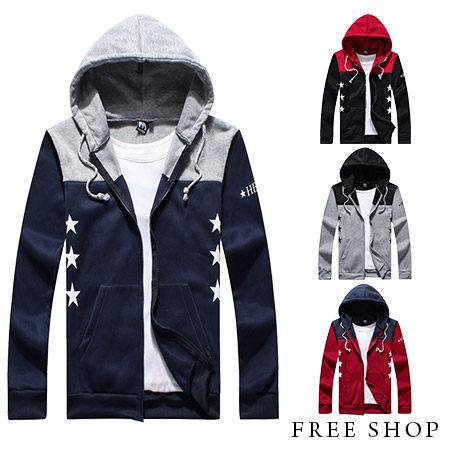 [現貨]【QZZZ70026】日韓系星星感雙色拼接保暖刷毛配色棉質連帽外套 MIT台灣製(四色)