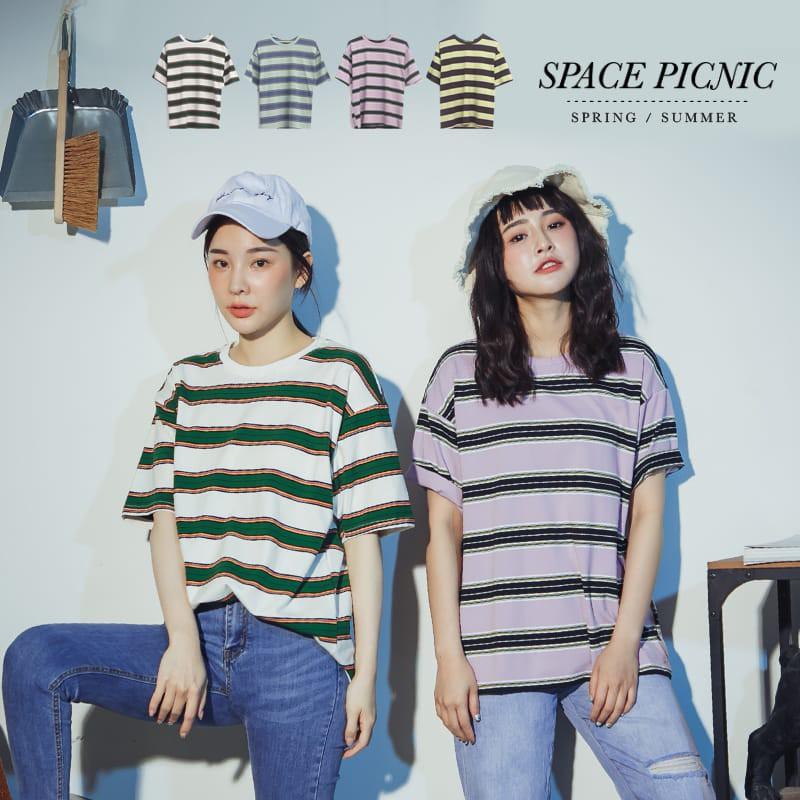 Space Picnic|粗細橫條紋短袖上衣(現貨)【C20053023】