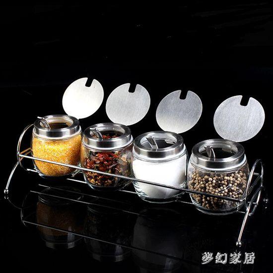廚房用品不銹鋼玻璃調味瓶套裝帶架勺子調料盒件套調料罐QW5887