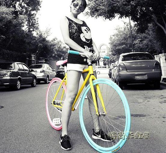 佳鳳死飛自行車成人活飛公路賽倒剎車實心胎2426寸男女學生單車