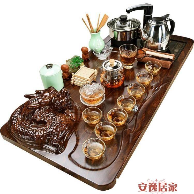 美閣紫砂功夫茶具套裝家用簡約陶瓷茶杯電熱磁爐茶臺茶道實木茶盤