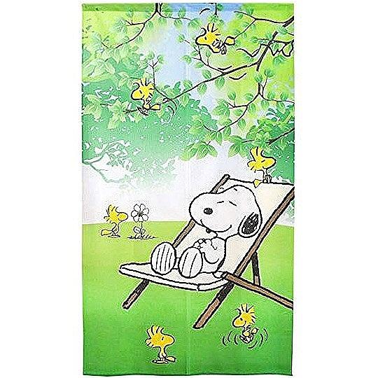 小禮堂 史努比 日製 長門簾 棉麻 布簾 窗簾 壁掛裝飾 85x150cm (綠 躺椅) 4943741-90352