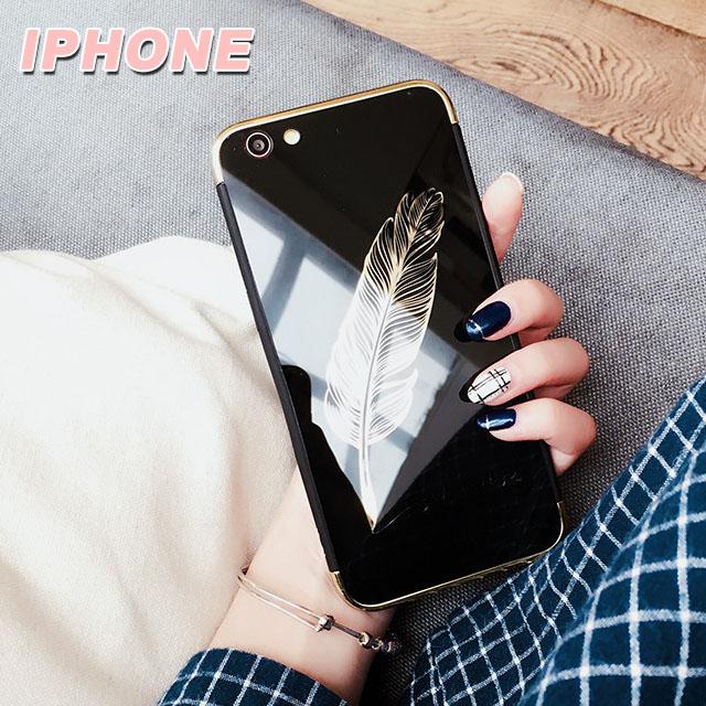 [現貨] 蘋果 iPhone X/XS/XR/XS MAX/8/7/6 s Plus 全系列 清新簡約文青風羽毛鏡面反射手機【QZZZ30092】