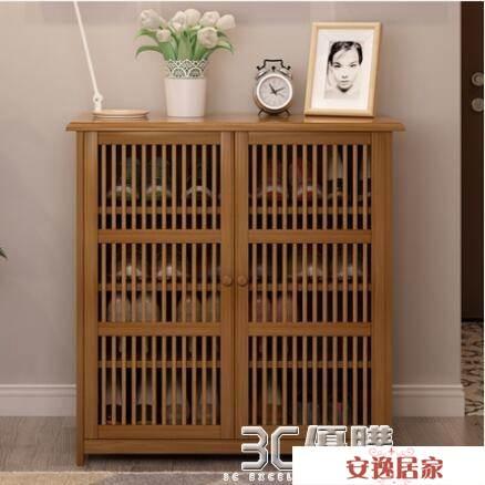 鞋櫃簡易組裝門口小鞋櫃實木鞋架簡易家用防塵簡約現代門廳多功能