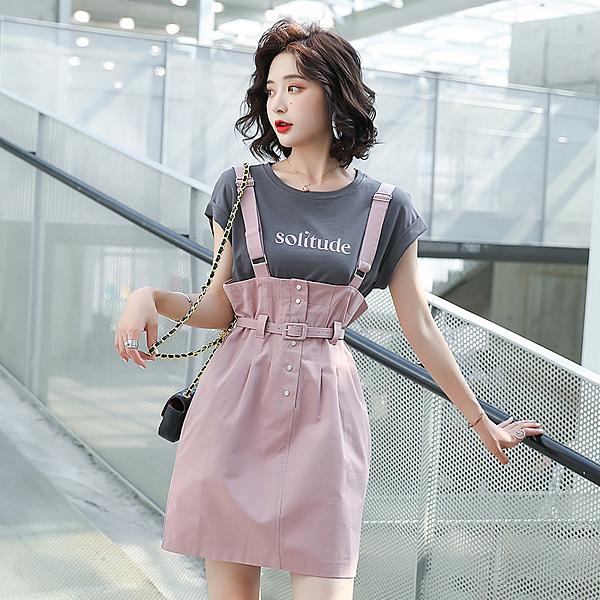第二件4折 韓國風氣質吊帶收腰背帶裙顯瘦套裝短袖裙裝