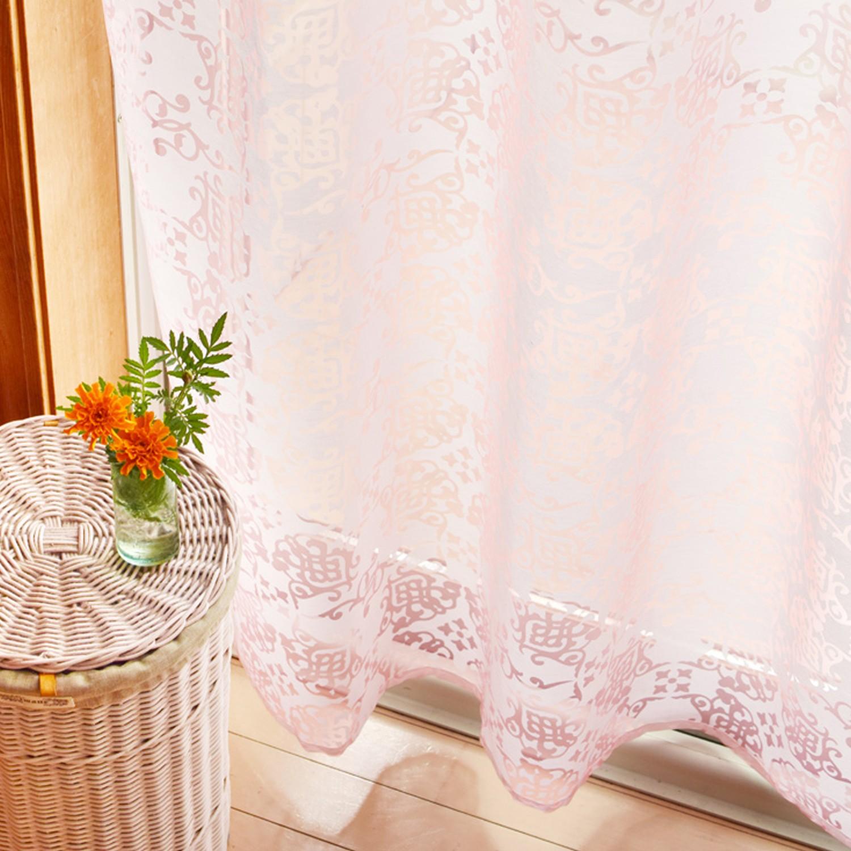 日本 TOMO - 職人手工染印窗簾【光影】-歐式圖騰-淺粉 (105x178cm)