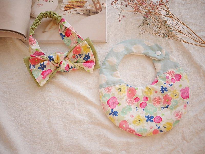 六重紗口水巾+雙層蝴蝶結髮帶  彌月禮盒 花朵款