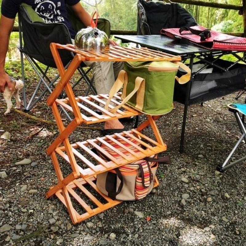 居家戶外露營置物竹製摺疊四層架