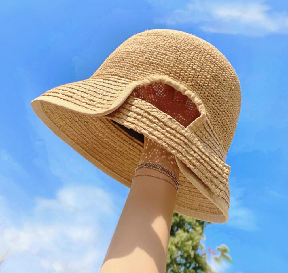 鐘型 拉菲草草帽 鈎針水桶帽 沙灘帽 渡假防曬遮陽帽子
