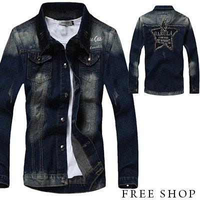 [現貨] 日韓系潮流街頭星星口袋車線排釦刷色牛仔外套騎士外套(藍色)【QZZZ004】