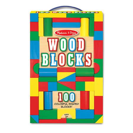 《 美國 Melissa & Doug 》 益智-彩色木製積木,100 pcs