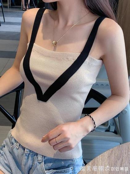 針織打底衫小吊帶背心女網紅泫雅風性感上衣外穿內搭爆款潮夏無袖  夏洛特居家名品