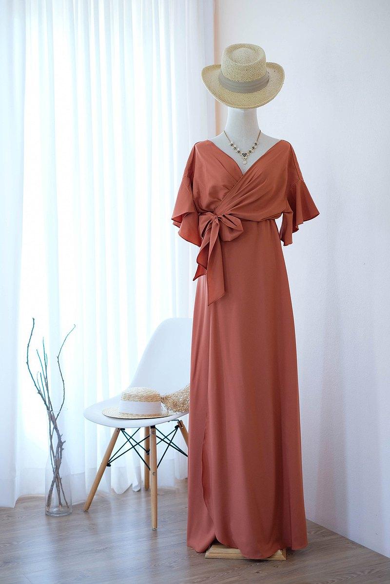 磚橘色禮服長裙伴娘禮服