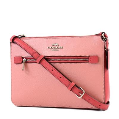 COACH 銀字拚色防刮皮革拉鍊斜背包-粉色