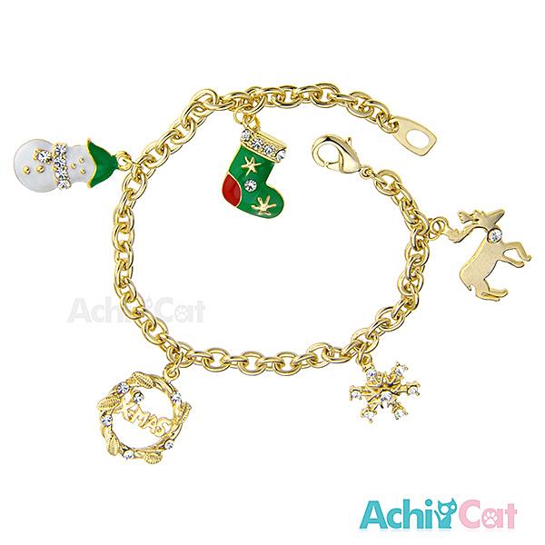 AchiCat 手鍊 正白K 耶誕樂園 雪人/聖誕襪/雪花 B182